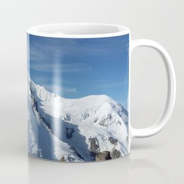 Awesome white snowy Mont Bla   nc Alps mountains in Italy, France, Europe on a beautiful winter day Coffee Mug