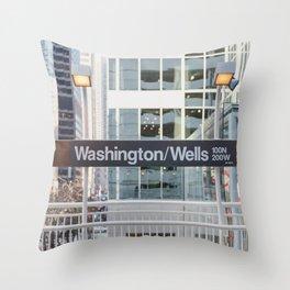 Washington & Wells - Chicago El Photography Throw Pillow