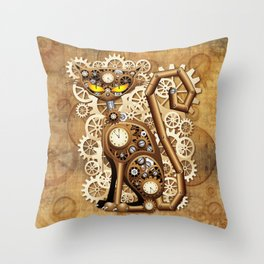 Steampunk Cat Vintage Style Throw Pillow