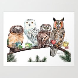 Tea owls , funny owl tea time painting by Holly Simental Art Print