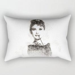 Audrey Hepburn portrait 01 Rectangular Pillow