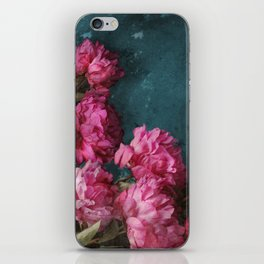 Peony Romance Teal iPhone Skin