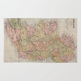 Vintage Map of Ireland (1883) Rug