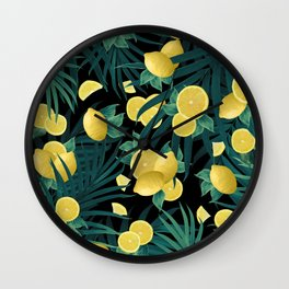 Summer Lemon Twist Jungle Night #1 #tropical #decor #art #society6 Wall Clock