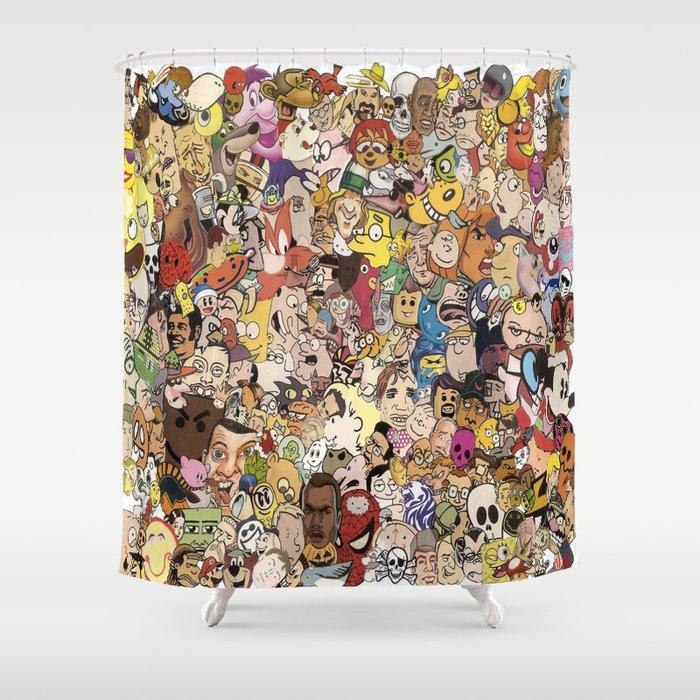 Cartoon Collage Shower Curtain By Myleshunt
