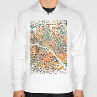 paris map Hoodies featuring Paris mosaic map #3 by Map Map Maps