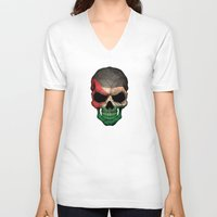 palestine V-neck T-shirts featuring Dark Skull with Flag of Palestine by Jeff Bartels
