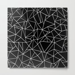 Abstraction Outline Black and White Metal Print
