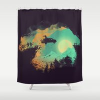 horror Shower Curtains featuring Leap of Faith by Picomodi