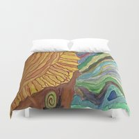 nail polish Duvet Covers featuring Ocean's Nail by Lizzshop