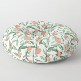 Peach and leaves Floor Pillow