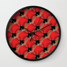 Red apple pattern Wall Clock
