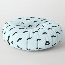 Black Mustache pattern on baby blue background Floor Pillow
