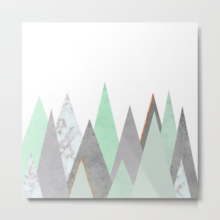 MINT COPPER MARBLE GRAY GEOMETRIC MOUNTAINS Metal Print