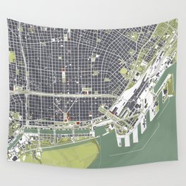 Buenos aires city map engraving Wall Tapestry