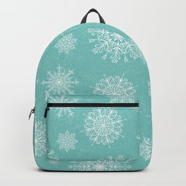 Assorted Snowflakes On Turquoise Backround Backpack