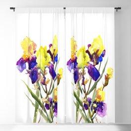 Garden Iris Floral Artwork Yellow Purple Blue Floral design, bright colored floral design Blackout Curtain