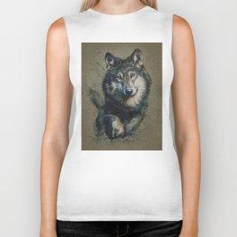 Wolf 2 background Biker Tank