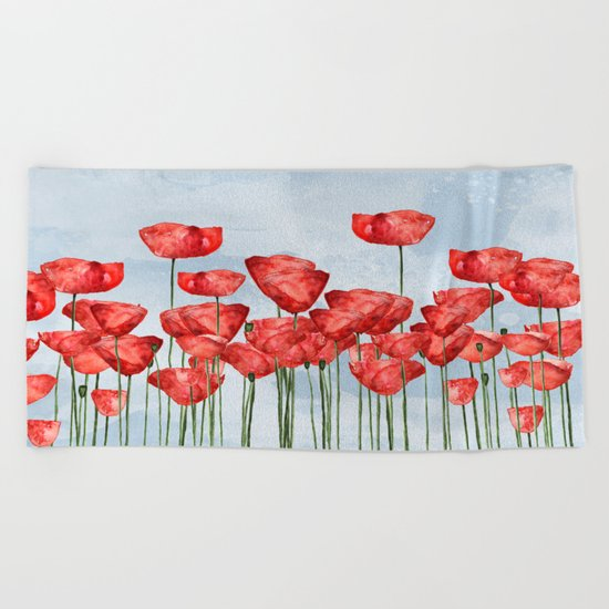 Poppyfield poppies poppy blue sky- watercolor artwork Beach Towel