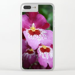 Tropical Flowers Orchids Clear iPhone Case