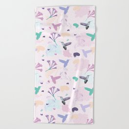 Hummingbird and flower pastel petal pattern Beach Towel