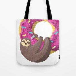 Cute sloth hanging from the donut Tote Bag