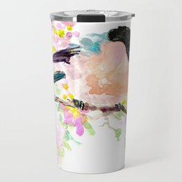 cute bird art, Bullfinch and Spring Travel Mug