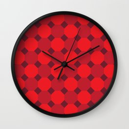 Red Octagon Pattern Wall Clock