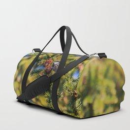 Bird on a spruce cone Duffle Bag