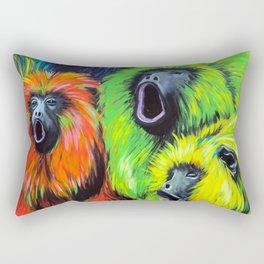 Urban Street Art: Screaming Fluorescent Monkeys Rectangular Pillow