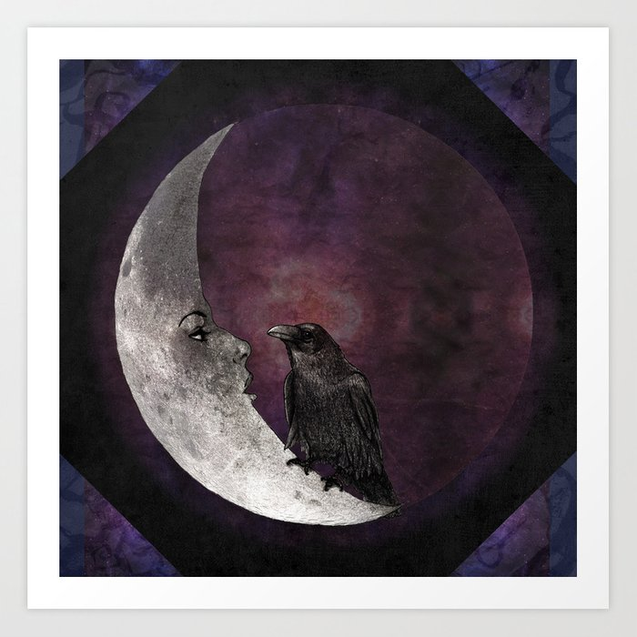 The crow and its moon. Art Print