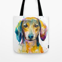 dachshund Tote Bags featuring Dachshund  by Slaveika Aladjova