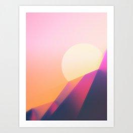 Sun Desert Mountain Sky Art Print