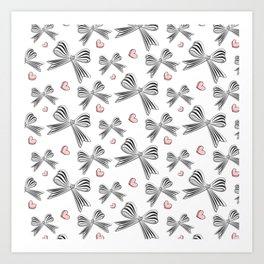 Pink bow heart Art Print