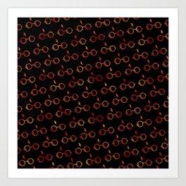 Glasses & Lightning Bolt - Gryffindor Red Art Print