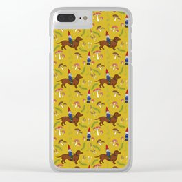 Gnome and Dachshund in Mushroom Land, Mustard Yellow Clear iPhone Case