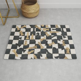 Chess Figures Pattern -Leather and gold Rug