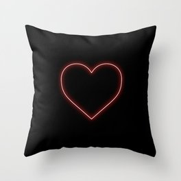 Neon Red Valentines Love Heart Throw Pillow