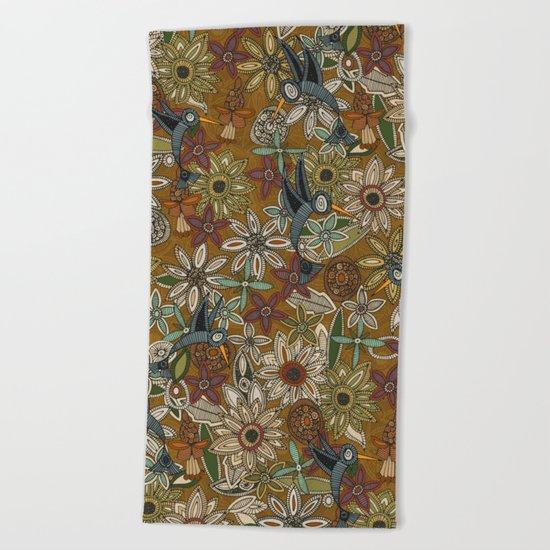 nectar bird garden gold Beach Towel
