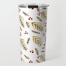 Christmas tree branches and berries - ochre and red Travel Mug