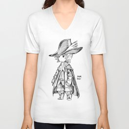 Red Mage - Black and White Unisex V-Neck