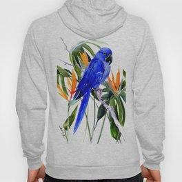 Hyacinth Macaw, Tropical colors foliage, jungle paradise flowers blue orange jungle colors Hoody