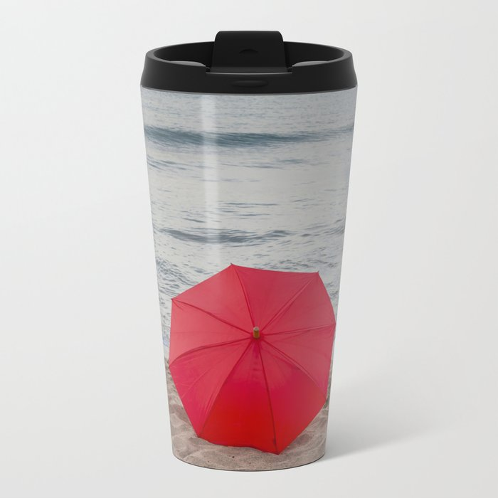 Red Umbrella lying at the beach III Travel Mug