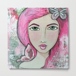 Just Breathe Mixed Media Girl Metal Print