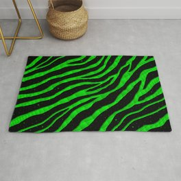 Ripped SpaceTime Stripes - Green Rug
