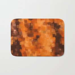 brown orange and dark brown square pattern abstract background Bath Mat