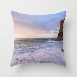 Golden hour with a lighthouse in the beach Throw Pillow