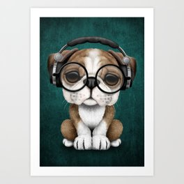 English Bulldog Puppy Dj Wearing Headphones and Glasses on Blue Art Print