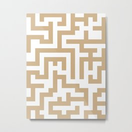 White and Tan Brown Labyrinth Metal Print