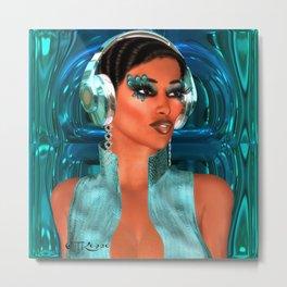 Beautiful girl with headphones Metal Print